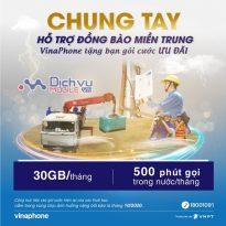 HOT: Vinaphone tặng miễn phí 30GB và 500 phút thoại cho thuê bao tại miền trung