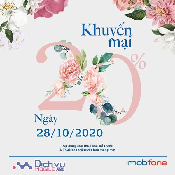 Mobifone khuyến mãi 20% giá trị thẻ nạp ngày 28/10/2020