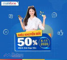 Mobifone khuyến mãi 50% giá trị thẻ nạp duy nhất ngày 4/11/2020