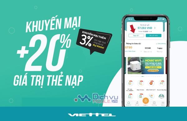 Viettel khuyến mãi 20% thẻ nạp duy nhất ngày 10/10/2020