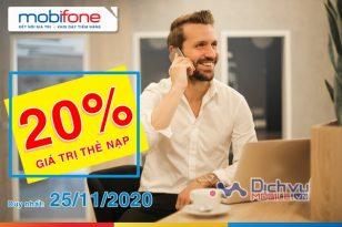 Mobifone khuyến mãi 20% thẻ nạp ngày 25/11/2020