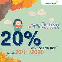 Mừng ngày nhà giáo: Viettel khuyến mãi tặng 20% thẻ nạp ngày 20/11/2020