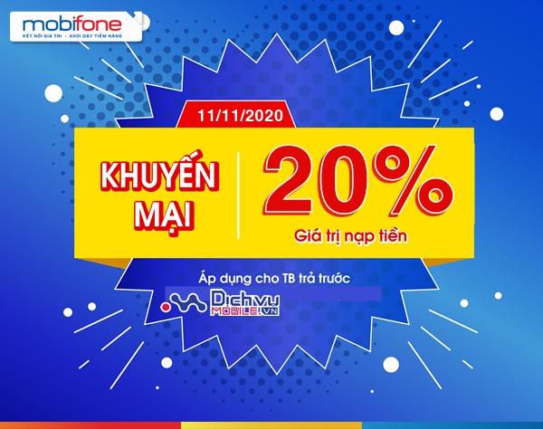 Mobifone khuyến mãi 20% giá trị thẻ nạp ngày vàng 11/11/2020