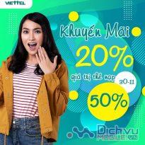 Viettel khuyến mãi 20% - 50% giá trị thẻ nạp ngày 30/11/2020