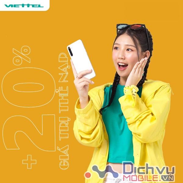 Viettel khuyến mãi tặng 20% giá trị thẻ nạp cục bộ ngày 21/11/2020