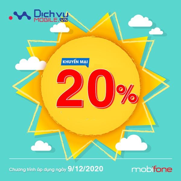 Mobifone khuyến mãi 20% giá trị thẻ nạp ngày 9/12/2020