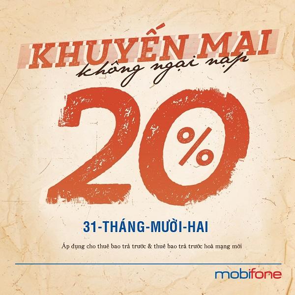 Mobifone khuyến mãi 20% thẻ nạp duy nhất 31/12/2020