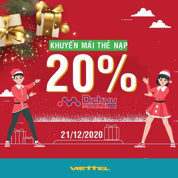 Viettel khuyến mãi 20% giá trị thẻ nạp ngày 21/12/2020