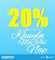 Vinaphone khuyến mãi tặng 20% giá trị thẻ nạp ngày 25/12/2020