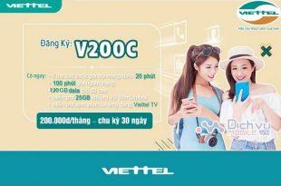 Đăng ký gói cước V200C Viettel có 120GB data + Gọi thả ga Miễn Phí