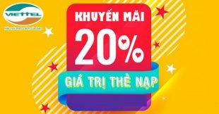 Viettel khuyến mãi 20% thẻ nạp duy nhất 10/1/2021