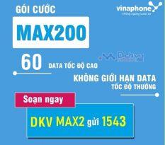 Đăng ký gói cước Max200 của Vinaphone nhận 60GB mỗi tháng