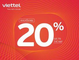 Viettel khuyến mãi 20% giá trị thẻ nạp duy nhất 30/1/2021