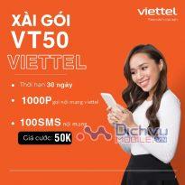 Hướng dẫn đăng ký gói VT50 Viettel nhận 1000 phút thoại và 100SMS chỉ 50k