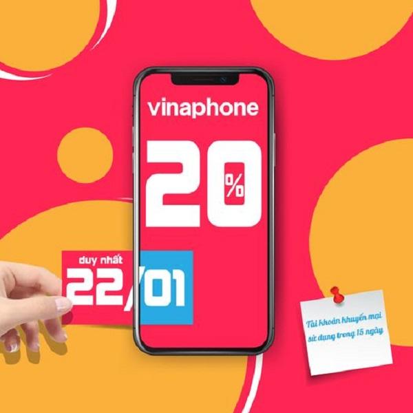 HOT: VinaPhone khuyến mãi 20% thẻ nạp vào ngày 22/1/2021 trên cả nước