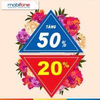 Mobifone khuyến mãi 20% - 50% giá trị thẻ nạp ngày 8/3/2021 siêu hấp dẫn