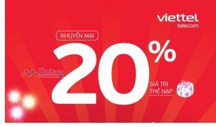 Viettel khuyến mãi tặng 20% giá trị thẻ nạp ngày 2/2021