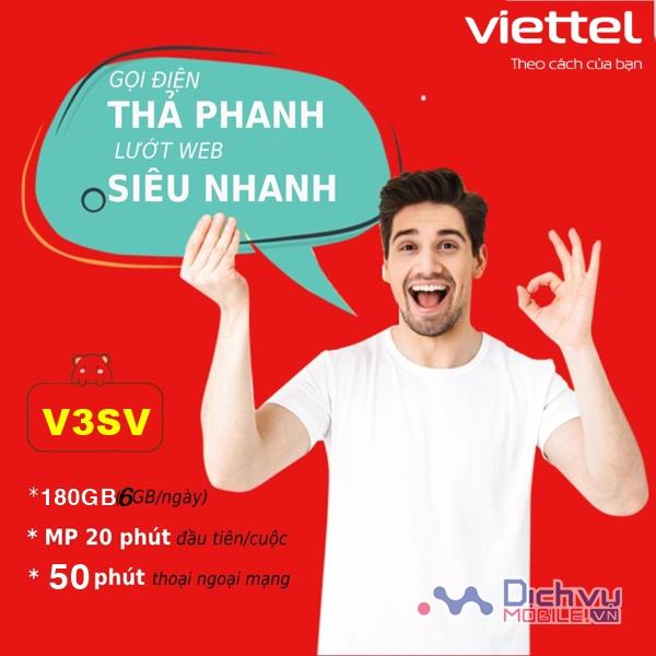 Cách đăng ký gói V3SV Viettel nhận 6GB/ ngày gọi nội ngoại mạng tẹt ga