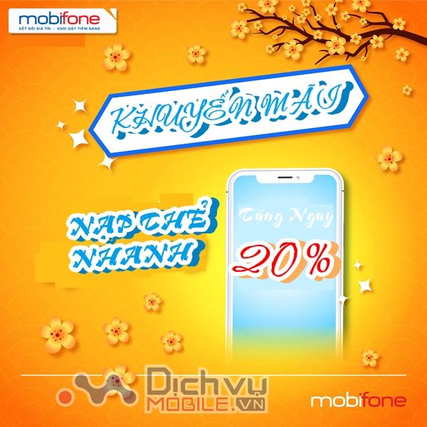Mobifone khuyến mãi 20% giá trị thẻ nạp ngày 2/2021
