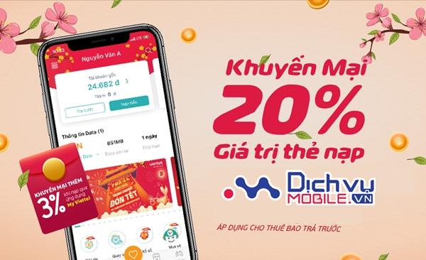 Viettel khuyến mãi 20% thẻ nạp duy nhất ngày 30/2/2021