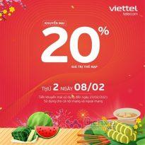 Viettel khuyến mãi tặng 20% giá trị thẻ nạp duy nhất ngày 8/2/2021