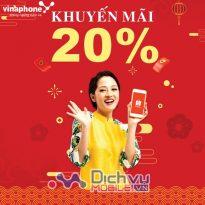 Vinaphone khuyến mãi 20% giá trị thẻ nạp duy nhất 2/2021