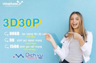 Hướng dẫn đăng ký gói 3D30P Vinaphone nhận 2GB/ ngày miễn phí thoại