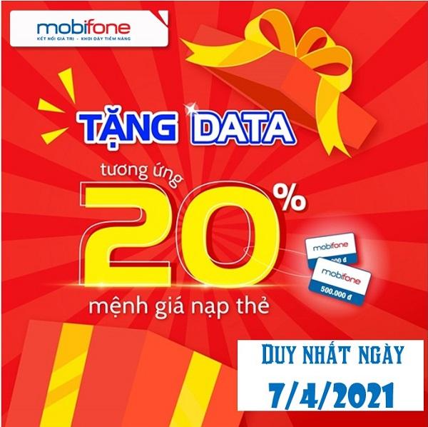 Mobifone nap the tang data ngay 7.4