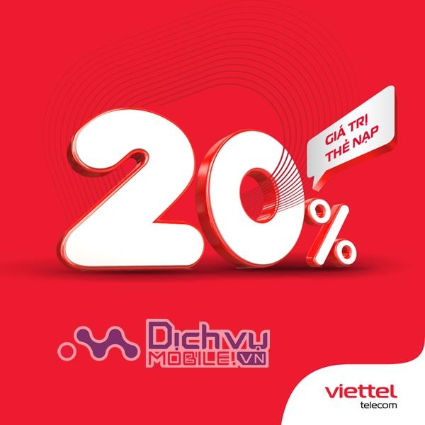 Viettel khuyến mãi 20% thẻ nạp duy nhất 20/3/2021
