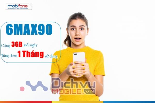 Cách đăng ký gói 3MAX90 Mobifone nhận 3GB/ ngày tặng 1 tháng sử dụng