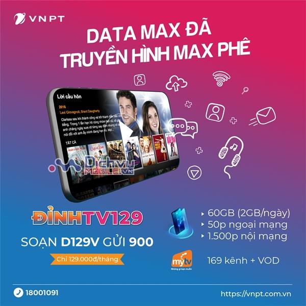 Cách đăng ký gói D129V Vinaphone ưu đãi 60GB, free thoại và 169 kênh truyền hình