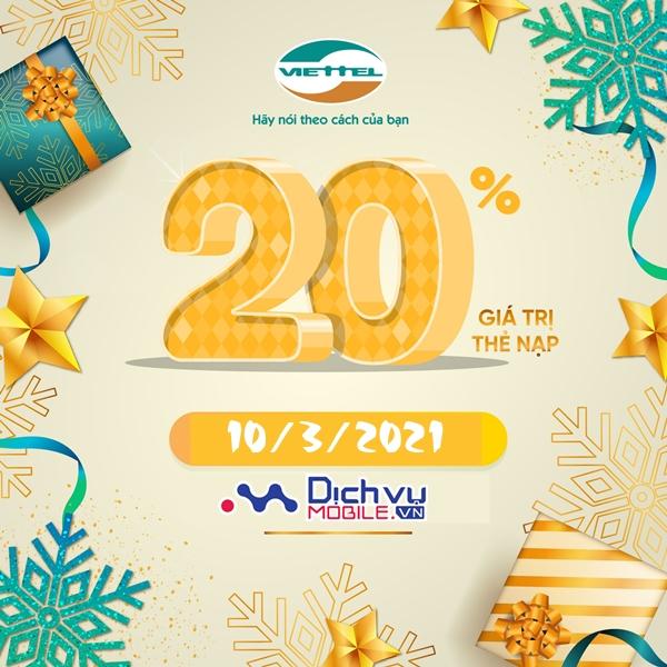 Viettel khuyến mãi tặng 20% thẻ nạp ngày 10/3/2021