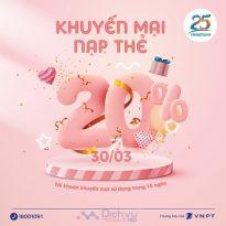 Vinaphone khuyến mãi 20% thẻ nạp ngày 30/3/2021