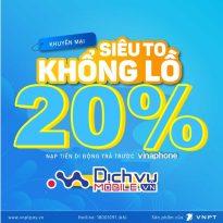 HOT: Vinaphone khuyến mãi 20% thẻ nạp duy nhất ngày 4/2021