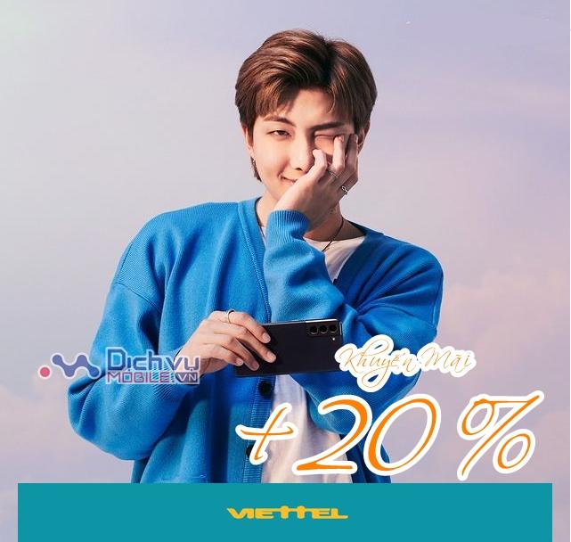 Viettel khuyến mãi 20% giá trị thẻ nạp duy nhất ngày vàng 10/4/2021