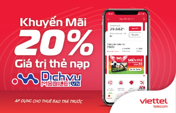 Viettel khuyến mãi 20% thẻ nạp duy nhất ngày vàng 30/4/2021