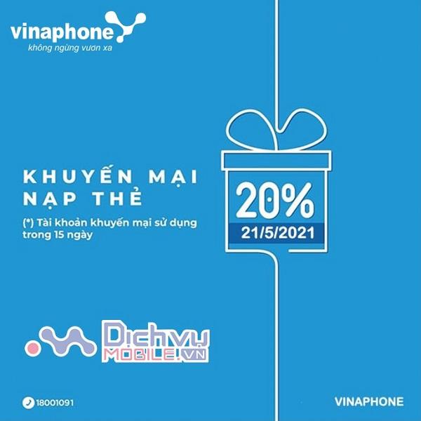 Khuyen mai the nap mang Vinaphone ngay 21.5