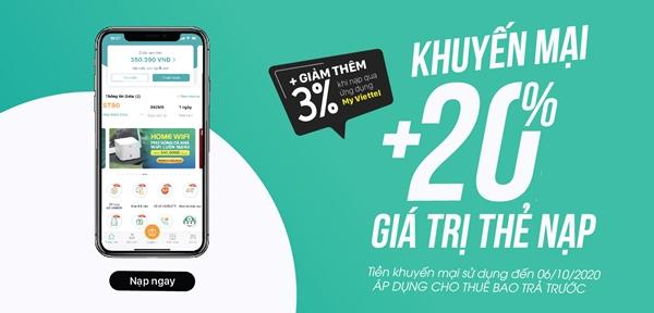 Viettel khuyến mãi tặng 20% giá trị thẻ nạp duy nhất 10/5/2021