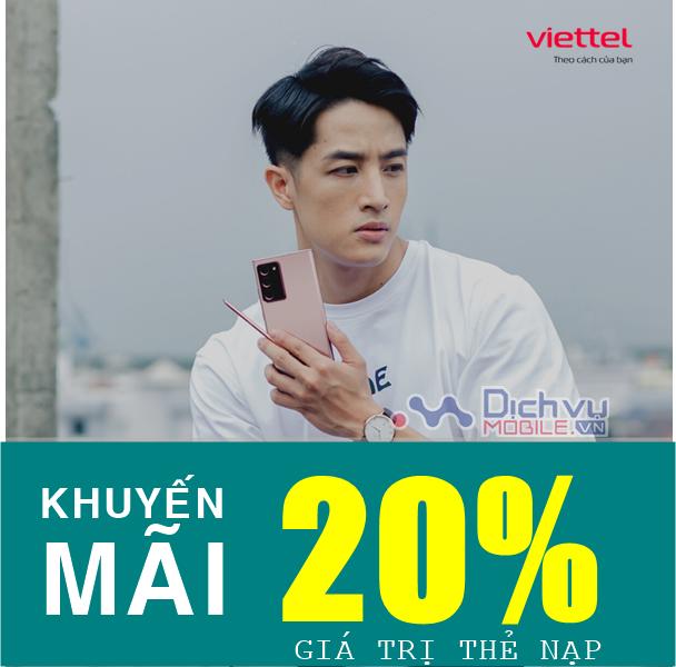 Viettel khuyến mãi tặng 20% thẻ nạp duy nhất 31/5/2021