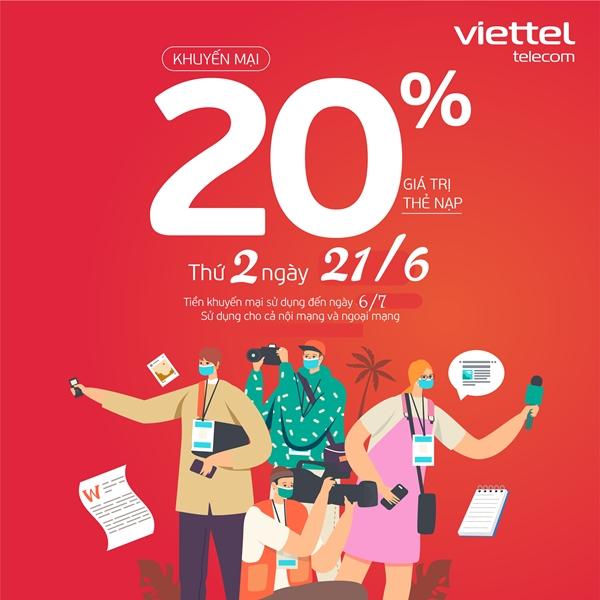 Viettel khuyến mãi 20% thẻ nạp ngày 21/6/2021 cục bộ