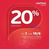 Viettel khuyến mãi 20% giá trị thẻ nạp duy nhất ngày 19/6/2201