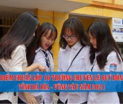 diem chuan lop 10 truong chuyen Le Quy Don tinh Ba Ria Vung Tau