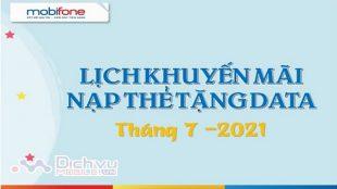 lich khuyen mai nap the tang data Mobifone thang 7