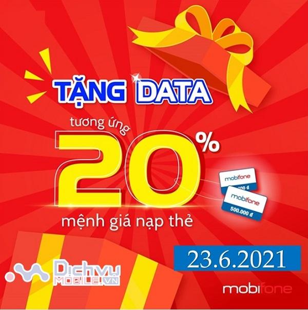 mobifone khuyen mai the nap cong data ngay 23.6
