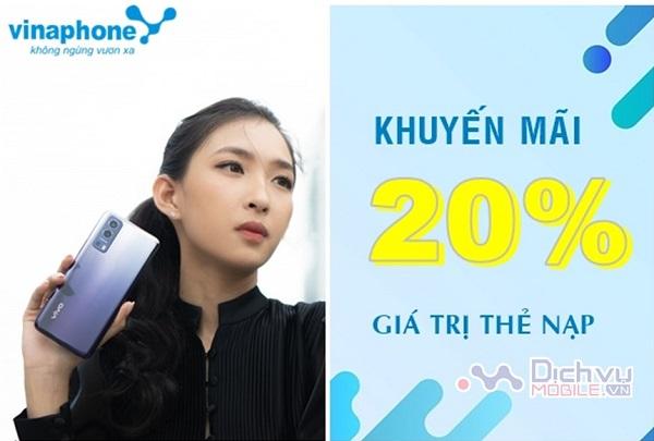 Vinaphone khuyến mãi 20% giá trị thẻ nạp ngày 23/7/2021 trên toàn quốc