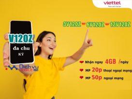 Viettel triển khai gói V120Z chu kỳ dài ưu đãi 4GB/ ngày free thoại