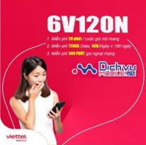 Hướng dẫn đăng ký gói cước 6V120N Viettel ưu đãi 720GB data và hàng trăm phút thoại hấp dẫn