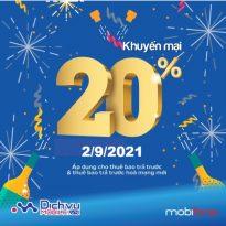 Khuyến mãi thẻ nạp ngày vàng Mobifone 2/9/2021