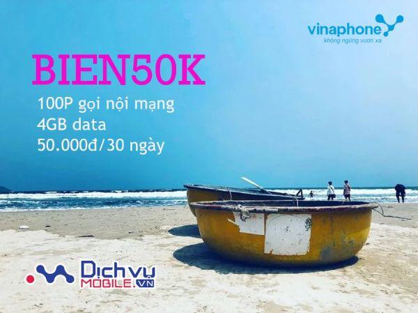 Đăng ký gói BIEN50K Vinaphone có ngay 4GB data và 100 phút gọi thoải mái.
