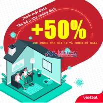 Hỗ trợ mùa covid: Viettel tăng 50% lưu lượng các gói 4G và combo có data cho mọi khách hàng